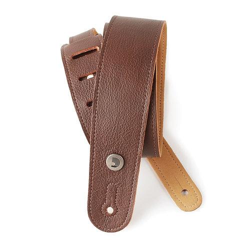 D'Addario Slim Garment Leather Guitar Strap Brown