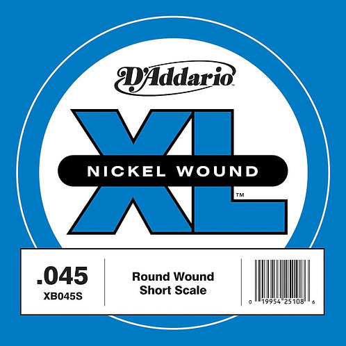 D'Addario XB040S Nickel Wound Bass Guitar SGL String Long Scale .045