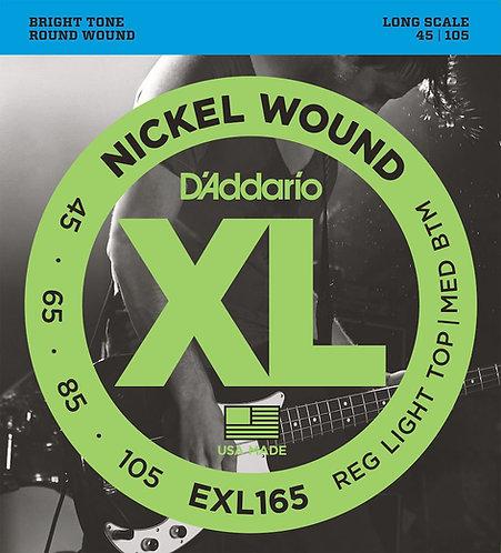 D'Addario EXL165 Nickel Wound Bass Guitar Strings Custom Light 45-105 Long