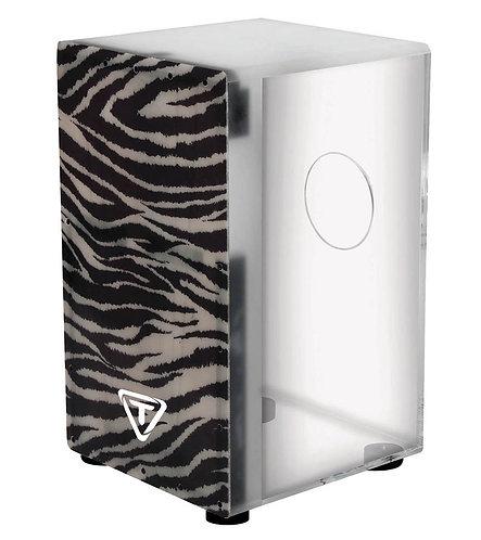 29 Series Clear Acrylic Cajon With Premium Fiberglass Front Plate - Zebra Design