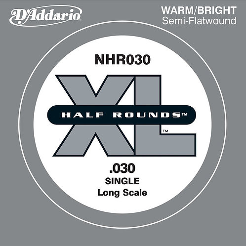 D'Addario NHR030 Half Round Bass Guitar SGL String Long Scale .030