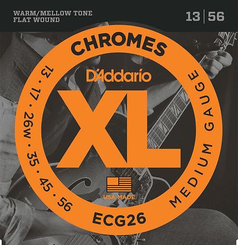 D'Addario ECG26 Chromes Flat Wound Electric Guitar Strings Med 13-56