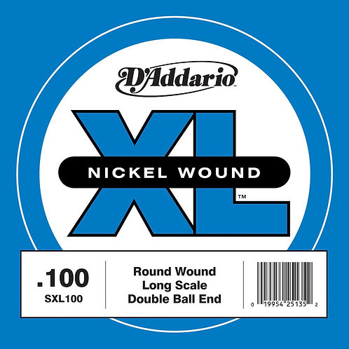 D'Addario SXL100 Nickel Wound Double Ball-End Bass Guitar SGL String Long Scale