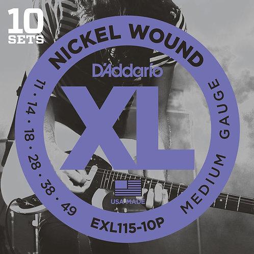 EXL115-10P Nickel Wound Electric Guitar Strings Med/Blues-Jazz Rock 11-49 10p
