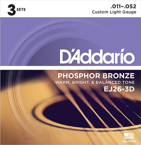 D'Addario EJ26-3D Phosphor Bronze Acoustic Guitar Strings Custom Light