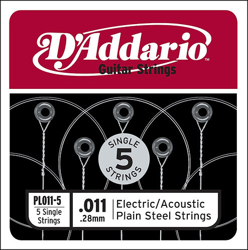 D'Addario PL011-5 Plain Steel Guitar SGL String .011 5-pack