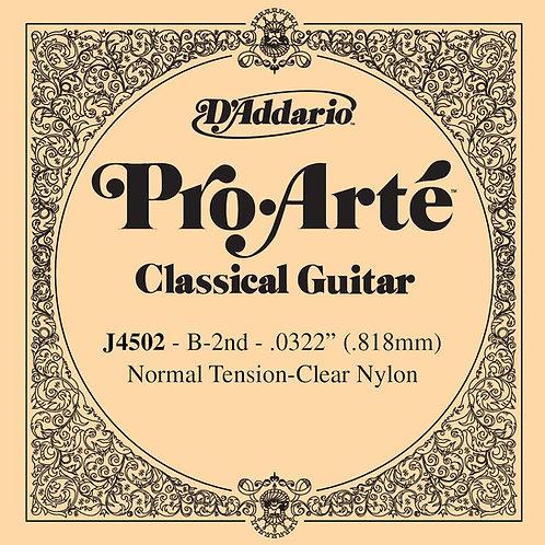 D'Addario J4502 Pro-Arte Nylon Classical Guitar SGL String Normal Tension Second