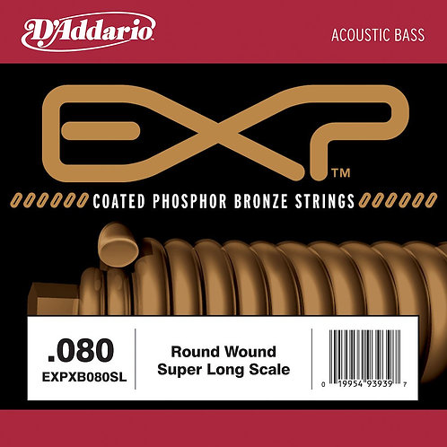 D'Addario EXPXB080SL EXP Coated Nickel Round Wound Bass Guitar SGL String .080