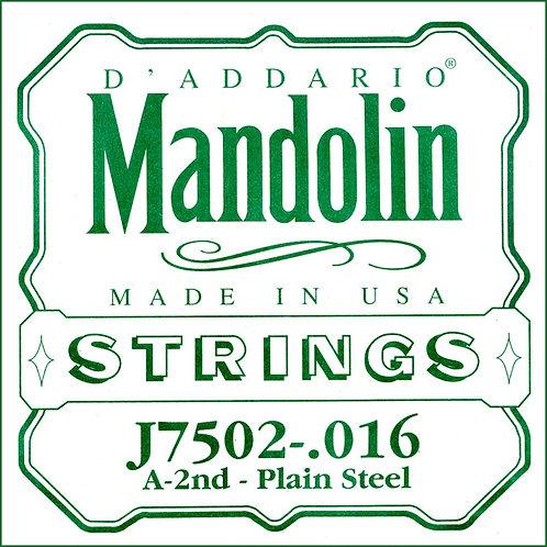 D'Addario J7502 Plain Steel Mandolin SGL String Second String .016