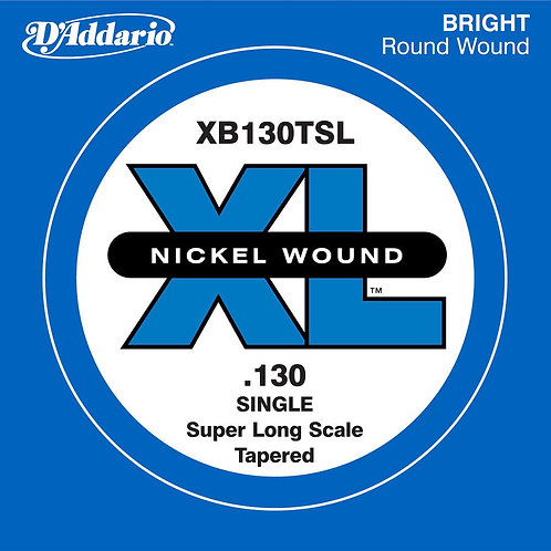 D'Addario XB130T Nickel Wound Bass Guitar SGL String Super Long .130 Tapered