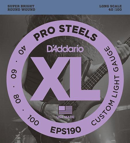 D'Addario EPS190 ProSteels Bass Guitar Strings Custom Light 40-100 Long