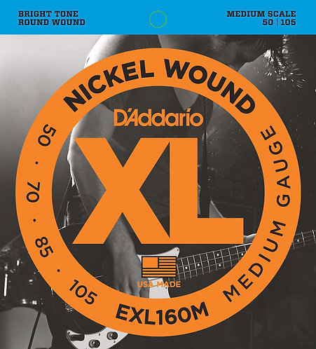 D'Addario EXL160M Nickel Wound Bass Guitar Strings Med 50-105 Med Scale