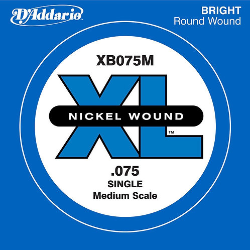 D'Addario XB075M Nickel Wound Bass Guitar SGL String Med Scale .075