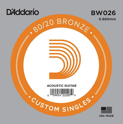 D'Addario BW026 Bronze Wound Acoustic Guitar SGL String .026