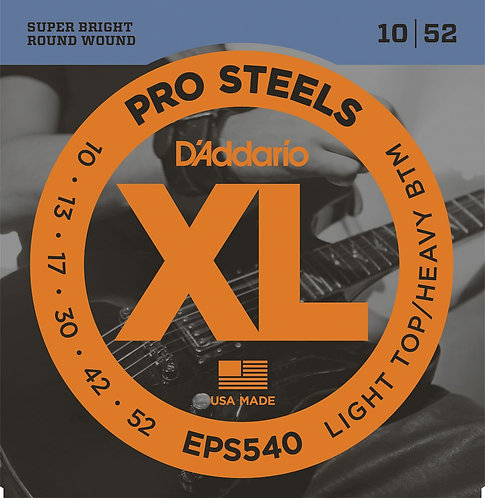 D'Addario EPS540 ProSteels Electric Guitar Strings Light Top/Hvy BTM 10-52