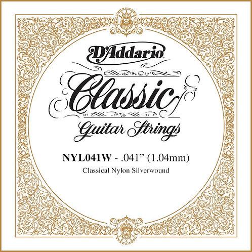 D'Addario NYL041W Silver-plated Copper Classical SGL String .041