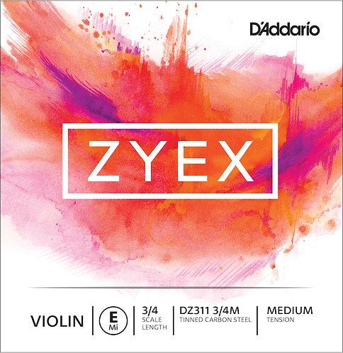D'Addario Zyex Violin SGL E String 3/4 Scale Med Tension