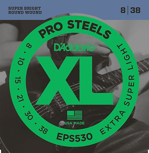 D'Addario EPS530 ProSteels Electric Guitar Strings X-Super Light 08-38