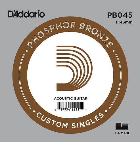 D'Addario PB045 Phosphor Bronze Wound Acoustic Guitar SGL String .045