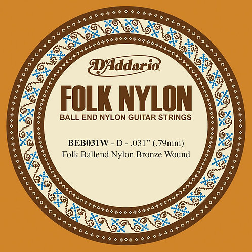 D'Addario BEB031W Folk Nylon Guitar SGL String Bronze Wound Ball End .031