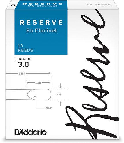 D'Addario Reserve Bb Clarinet Reeds Strength 3.0 10-pack