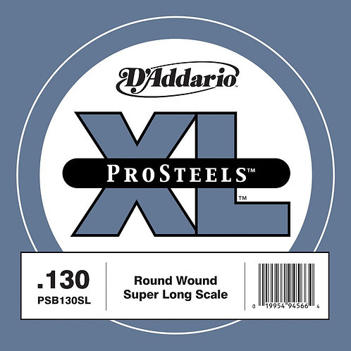 D'Addario PSB130SL ProSteels Bass Guitar SGL String Super Long .130
