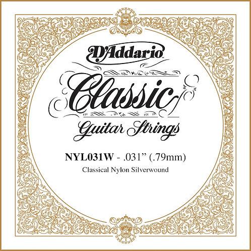 D'Addario NYL031W Silver-plated Copper Classical SGL String .031
