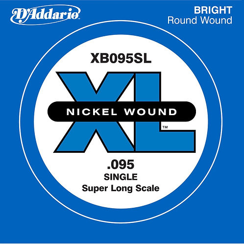D'Addario XB095SL Nickel Wound Bass Guitar SGL String Super Long .095