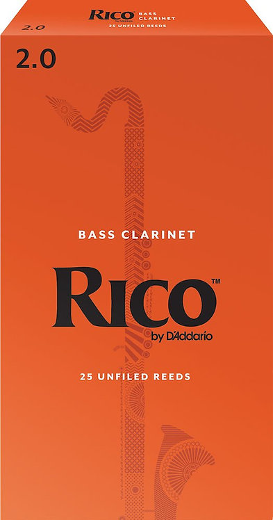 Rico by D'Addario Bass Clarinet Reeds Strength 2 25 Pack