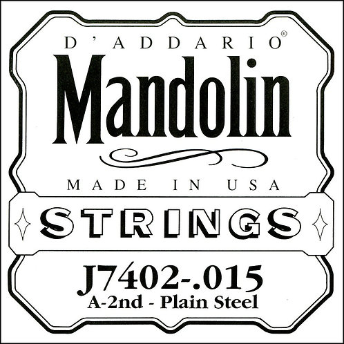 D'Addario J7402 Plain Steel Mandolin SGL String Second String .015