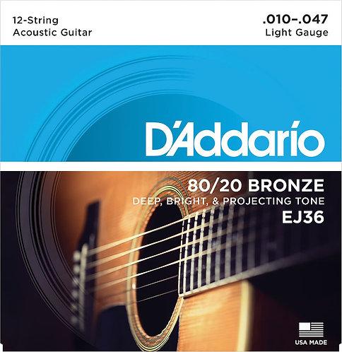 D'Addario EJ36 12-String Bronze Acoustic Guitar Strings Light 10-47