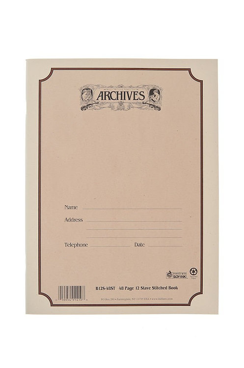 Archives Standard Bound Manuscript Paper Book 12 Stave 48 Pages