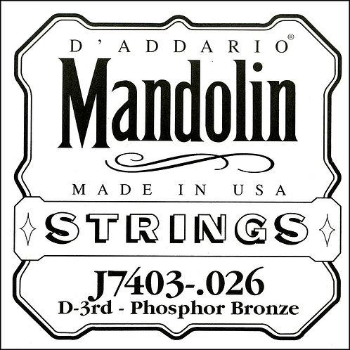 D'Addario J7403 Phosphor Bronze Mandolin SGL String Third String .026