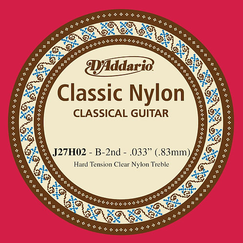 D'Addario J27H02  Student Nylon Classical Guitar SGL String Hard Tension Second