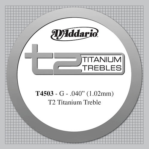 D'Addario T2 Titanium Treble Classical Guitar SGL String Normal Tension Third St