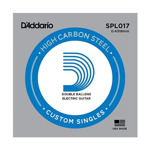 D'Addario SPL017 Plain Steel Guitar SGL String Double Ball End .017