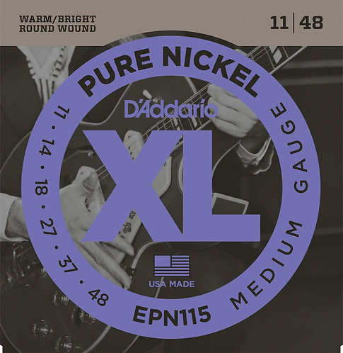 D'Addario EPN115 Pure Nickel Electric Guitar Strings Blues/Jazz Rock 11-48
