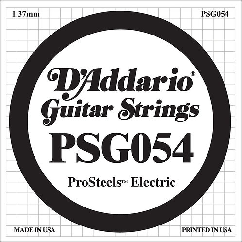 D'Addario PSG054 ProSteels Electric Guitar SGL String .054