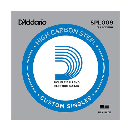 D'Addario SPL009 Plain Steel Guitar SGL String Double Ball End .009