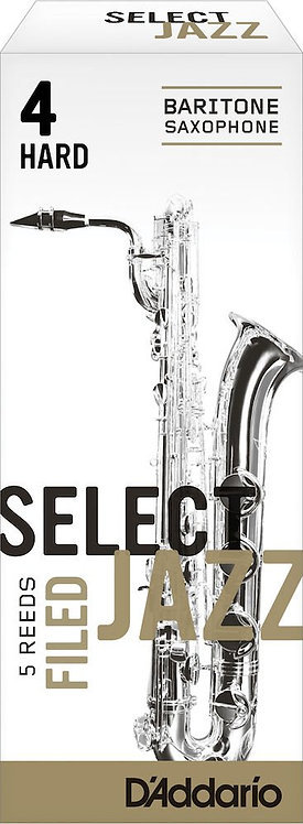D'Addario Select Jazz Filed Baritone Saxophone Reeds Strength 4 Hard 5-pack