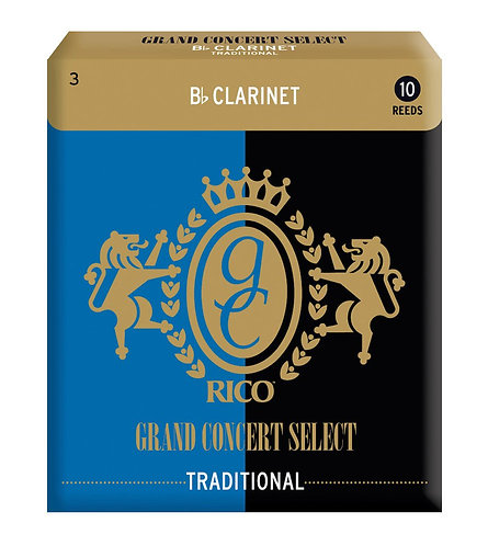 Rico Grand Concert Select Traditional Bb Clarinet Reeds Strength 3.0 10 Pack