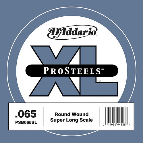 D'Addario PSB065SL ProSteels Bass Guitar SGL String Super Long .065