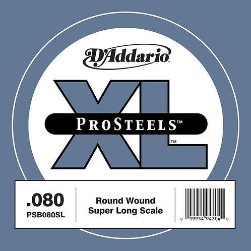 D'Addario PSB080SL ProSteels Bass Guitar SGL String Super Long .080