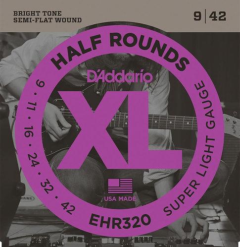 D'Addario EHR320 Half Round Electric Guitar Strings Super Light 9-42
