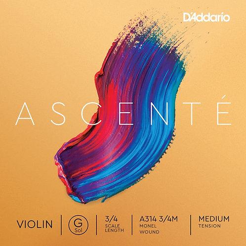 D'Addario Ascent Violin G String 3/4 Scale Med Tension
