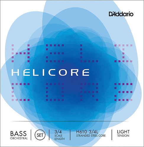 D'Addario Helicore Orchestral Bass String Set 3/4 Scale Light Tension