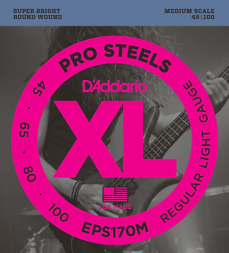 D'Addario EPS170M ProSteels Bass Guitar Strings Light 45-100 Med Scale