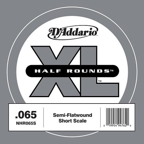 D'Addario NHR065S Half Round Bass Guitar SGL String Short Scale .065