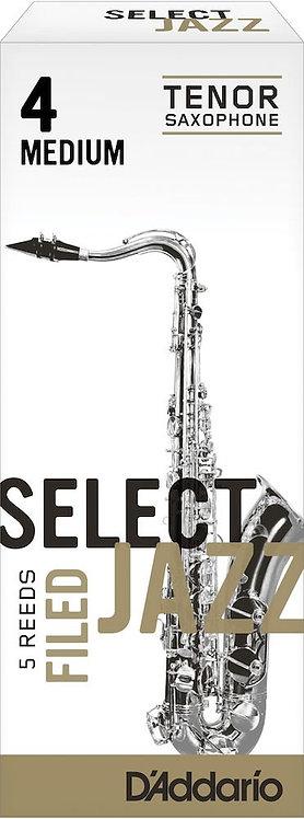 D'Addario Select Jazz Filed Tenor Saxophone Reeds Strength 4 Med 5-pack