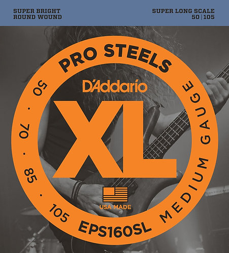 D'Addario EPS160SL ProSteels Bass Guitar Strings Med 50-105 Super Long